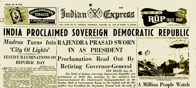26 January 1950 :: India Proclaimed Sovereign Democratic Republic   ( Photo - @IndianExpress )