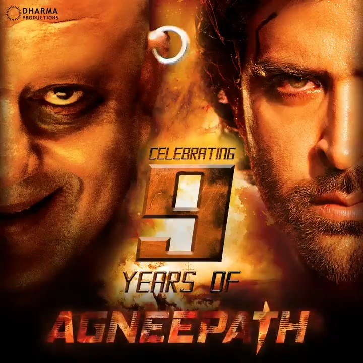 A cinematic journey of revenge, passion and fury.  Celebrating #9YearsOfAgneepath!  @karanjohar @apoorvamehta18 @duttsanjay @iHrithik @priyankachopra #RishiKapoor @KaranMalhotra21 #Agneepath @DharmaMovies