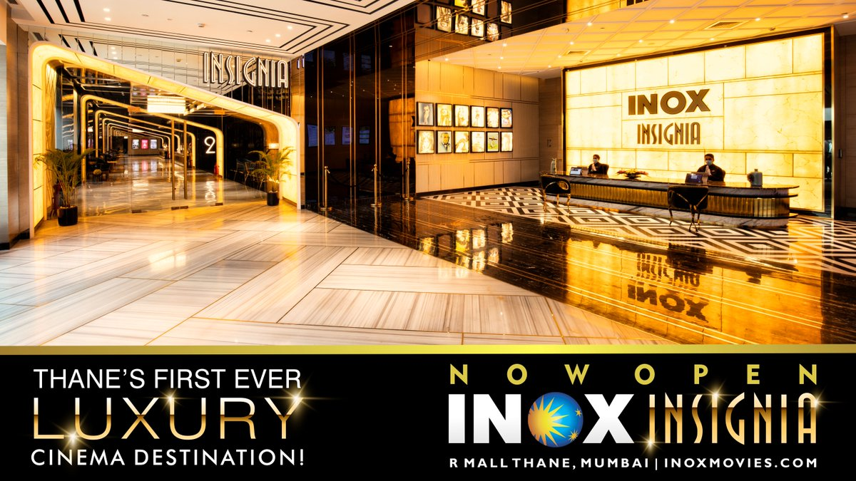 Presenting...  Thane's first-ever luxury cinema destination with 4 super #INOX #Insignia screens at R Mall! Come, witness the epitome of cinema luxury with top-class ambiance & hospitality! 151 multiplexes, 641 screens, 69 cities!   INOX, The Entertainment Destination Of India!