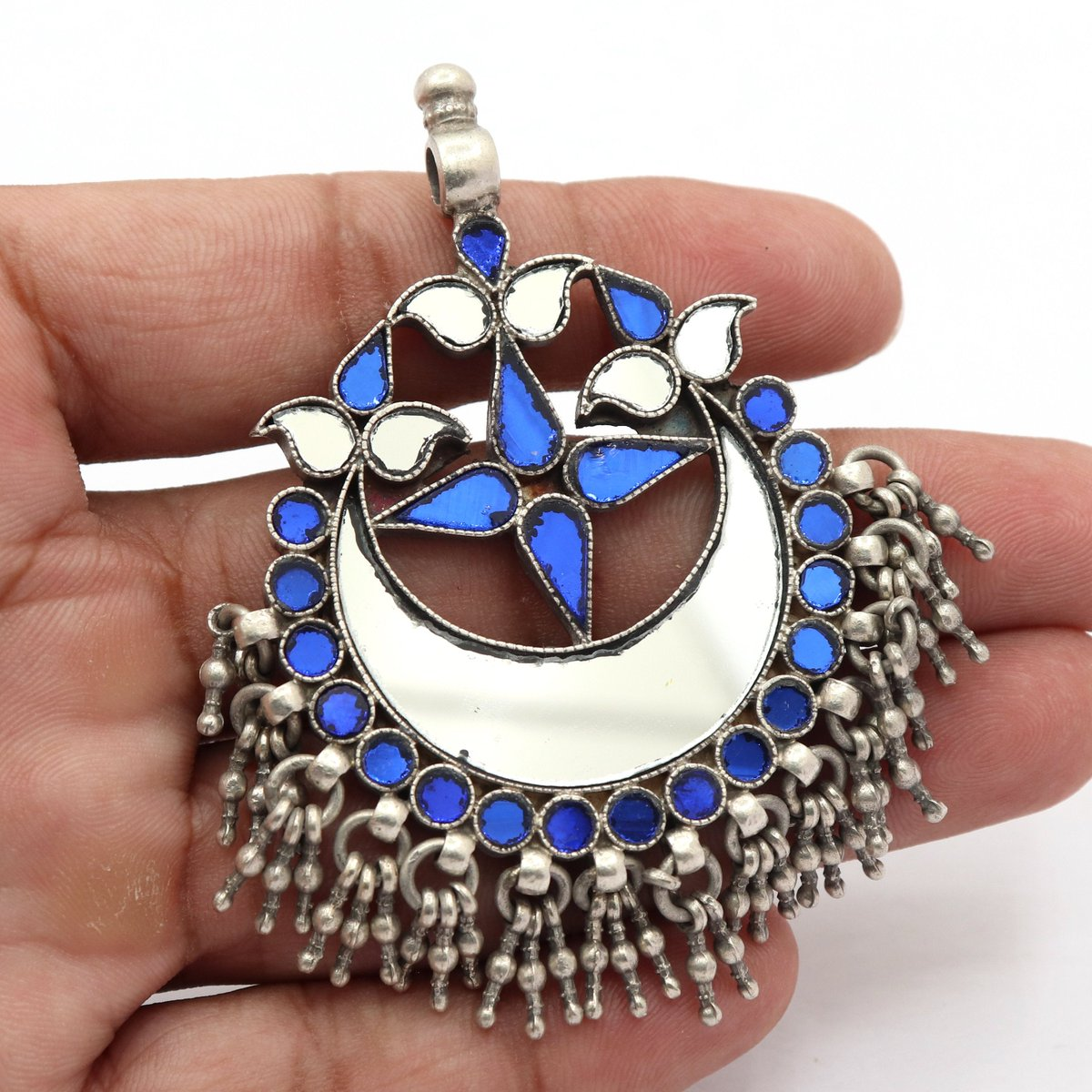 Excited to share the latest addition to my #etsy shop: Belgium Imported Glass 925 sterling Silver Antique pendant necklace tribal pendant Vintage Style Silver pendant Locket Blue Glass pendant  #white #anniversary #thanksgiving #people #blue #uni
