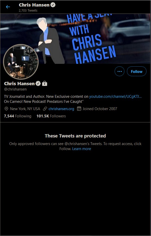 "#ChrisHansenIsOverParty May be down to number 7 overall on trending. But it is number one in ""news"" trending.  @chrishansen It's easy looking good next to predators. I'm sure Ted Bundy could do it if he were still around. However, amongst others in society. You! Are scum."