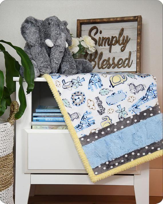 #Lion Around #Blue #MINKYKIT from #ShannonFabrics #FREESHIPPING to US  #Babyboy #toddlerboy #BabyShower Gift, #Newborn #Minky #Blanket  COMPLETE Kit