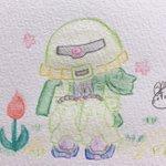 Image for the Tweet beginning: 花が咲くのを楽しみに待ってる🌷 #ザク #ザク2改 #機動戦士ガンダム #ポケットの中の戦争 #水彩色鉛筆