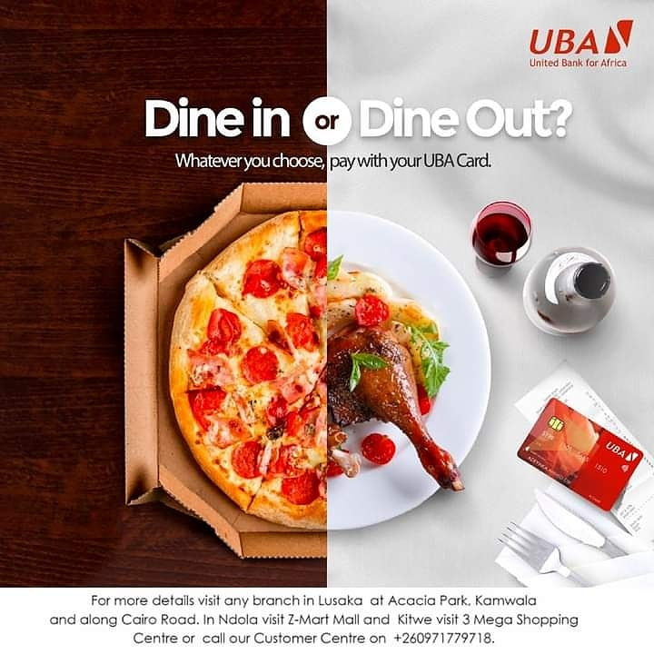 Not sure what to eat? Whether to dine in or dine out? Withdraw money to settle your bill or swipe?  #GoCashless and settle your bills using the #UBADebitCard or  #UBAPrepaidCard any time, anywhere. Get yours today at any of our UBA Branch offices.  #AfricasGlobalBank #UBAZambia