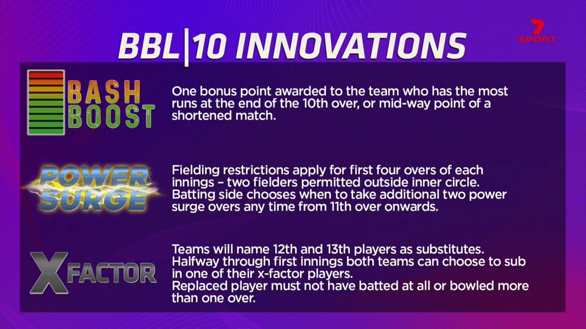 Now we've had a full season of the three new rules, what are your thoughts on the Bash Boost, Power Surge and X-Factor? #BBL10