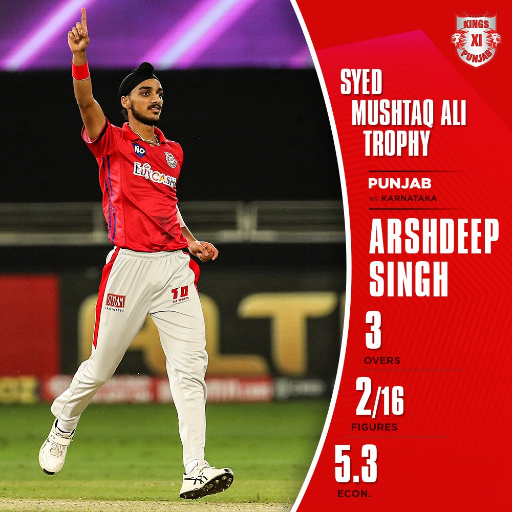 The trio of @arshdeepsinghh, @prabhsimran01 & @mandeeps12 deliver the 👊 to knock the defending champions out of the #SyedMushtaqAliTrophy 🔥  #SaddaPunjab