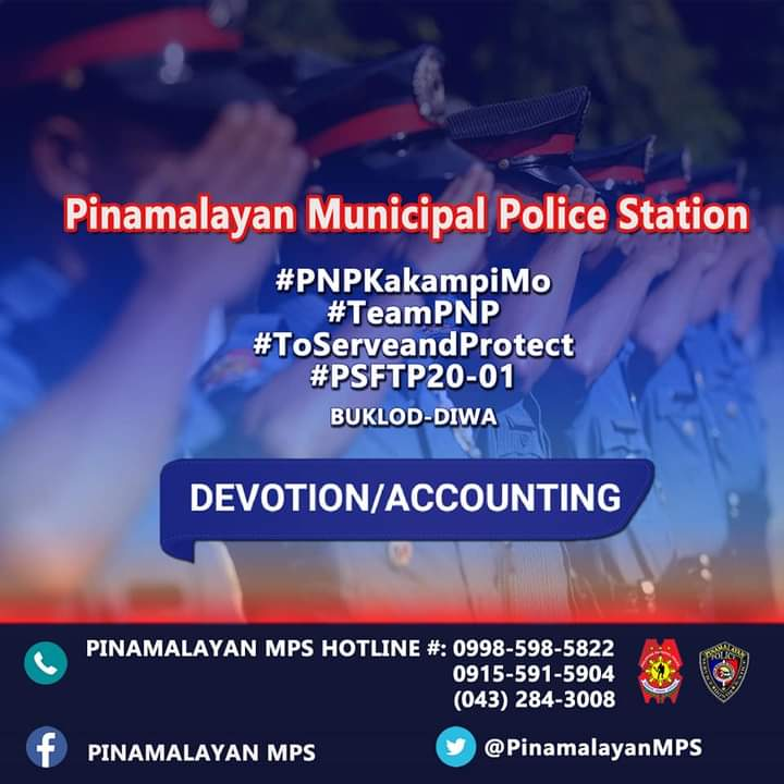 On January 25, 2021 at about 8:00 PM, PSFTP BUKLOD DIWA CL 2020-01 PINAMALAYAN MPS had their roll call formation, accounting and  evening devotion outside the PTs Barracks, 0391 Quezon St, Brgy. Zone III, Pinamalayan, Oriental Mindoro.  #TeamPNP #ToServeandProtect #PNPKakampiMo