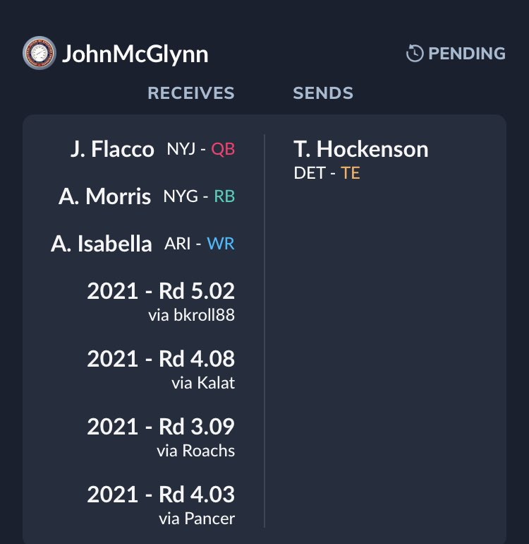 I do love Hock, but how do I pass up this stacked offer? This is in a 12 team 30 player #Dynasty #PPR #TEP X 1.75.  The bright part is that now I know that he is interested in TJ, so now I know I can pelt him with a few fair and maybe slightly one sided trades in my favor. #Grind