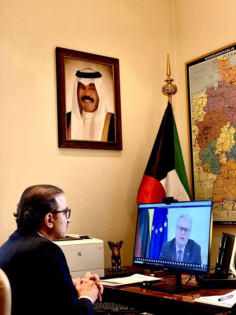 HE Najeeb Al-Bader,Ambassador of the State of #Kuwait to Federal Republic of #Germany & the non-resident ambassador to Republic of #Lithuania, participated in the virtual meeting by HE the President of 🇱🇹Gitanas Nausėda for heads of diplomatic missions accredited #Vilnius.🇱🇹🇰🇼 https://t.co/UahbmtzSoz