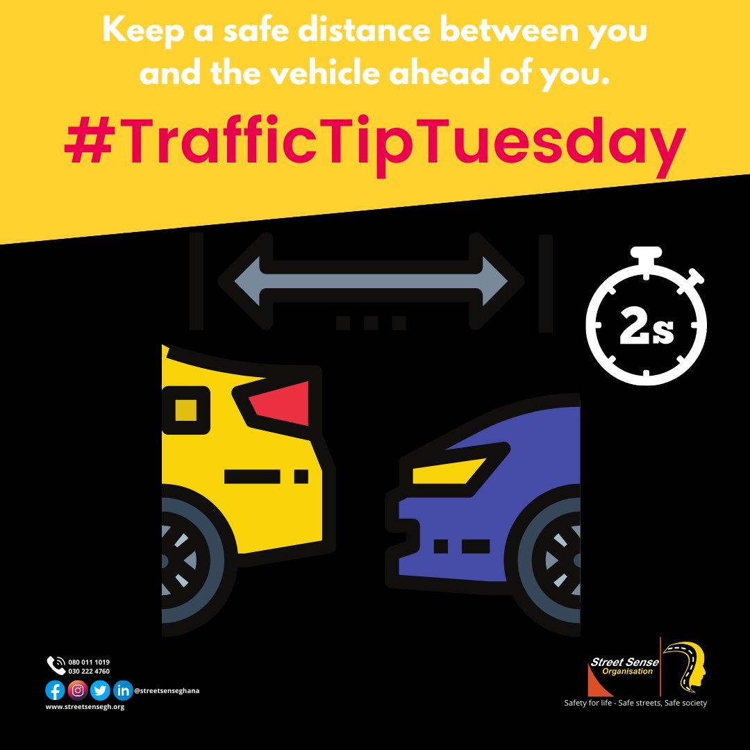 #TrafficTipTuesday Under ideal driving conditions, always keep a safe distance of at least 2 seconds between you and the #vehicle ahead of you. The allotted 2 seconds is a #safety buffer, to allow the following #driver time to respond. #tiptuesday #tuesdayvibe #roadsafetytips