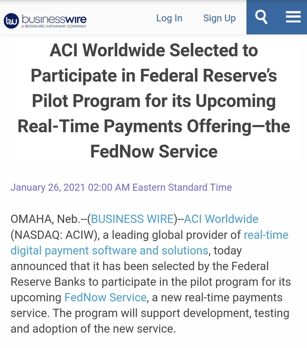 🔥 JUST IN: Ripple Supporter ACI Worldwide Selected to Participate in Federal Reserve's Pilot Program for its Upcoming Real-Time Payments Offering—the FedNow Service businesswire.com/news/home/2021… #XRP #XRPCommunity #crypto #blockchain