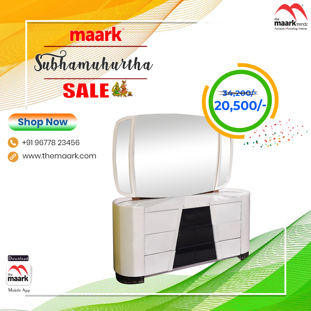 Make your family occasion more special with Maark Subhamuhurtha Sale. Dresser Save upto 50% Enhance your lifestyle with The Maark. Visit : http//: to choose among 2000+ range.. or call : 9677823456 #Maark #dresser#Subhamuhurtha Sale #Pongal
