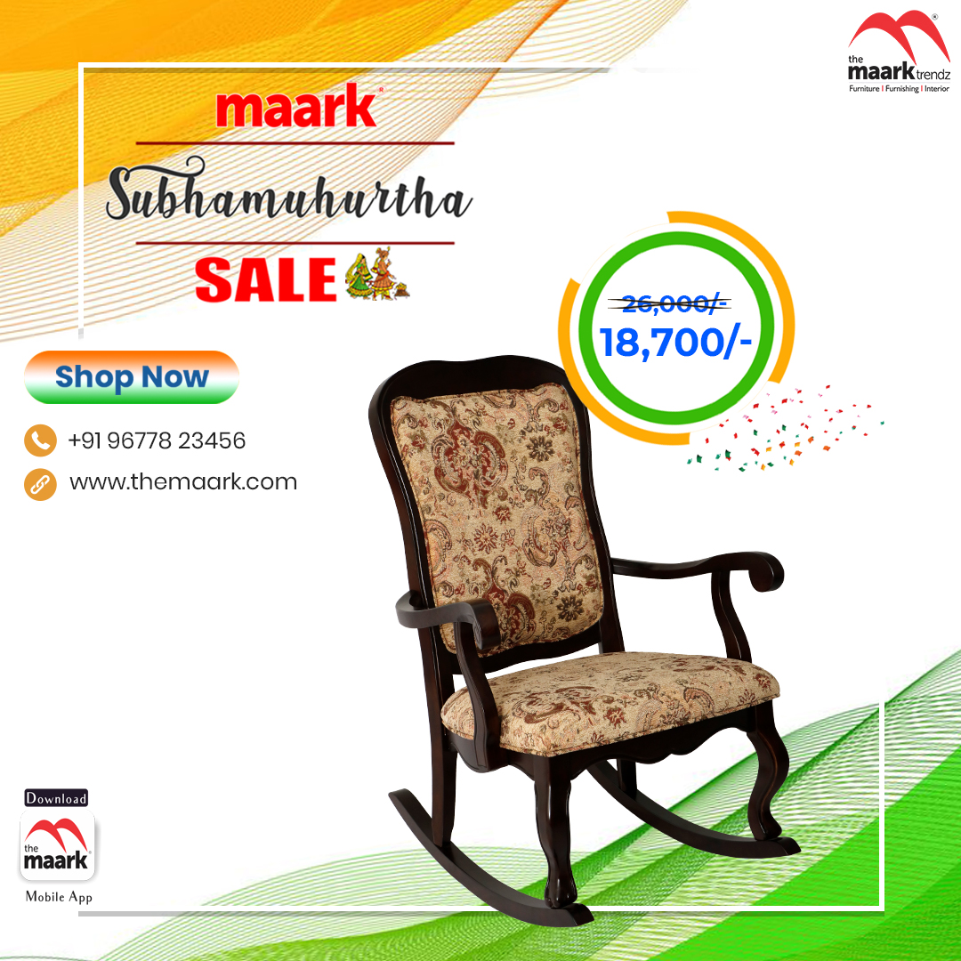 Make your family occasion more special with Maark Subhamuhurtha Sale. Rocking Chair Save upto 50% Enhance your lifestyle with The Maark. Visit : http//: to choose among 2000+ range.. or call : 9677823456 #Maark #rockingchair#Subhamuhurtha Sale #Pongal