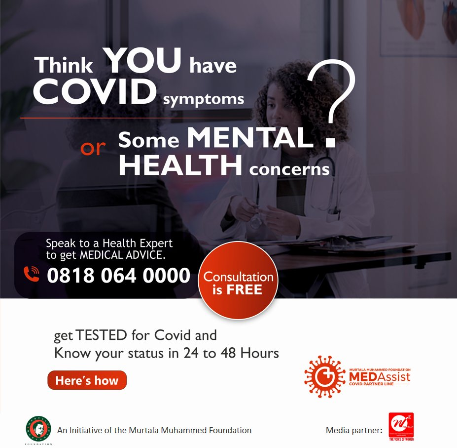 If your health fails, it can overshadow everything else that's going on in your life and may also affect your loved ones too.  Call #medassist on 08180640000 for #mentalhealth & #COVID19 related issues and speak with a doctor in any major language.  Consultation is FREE.