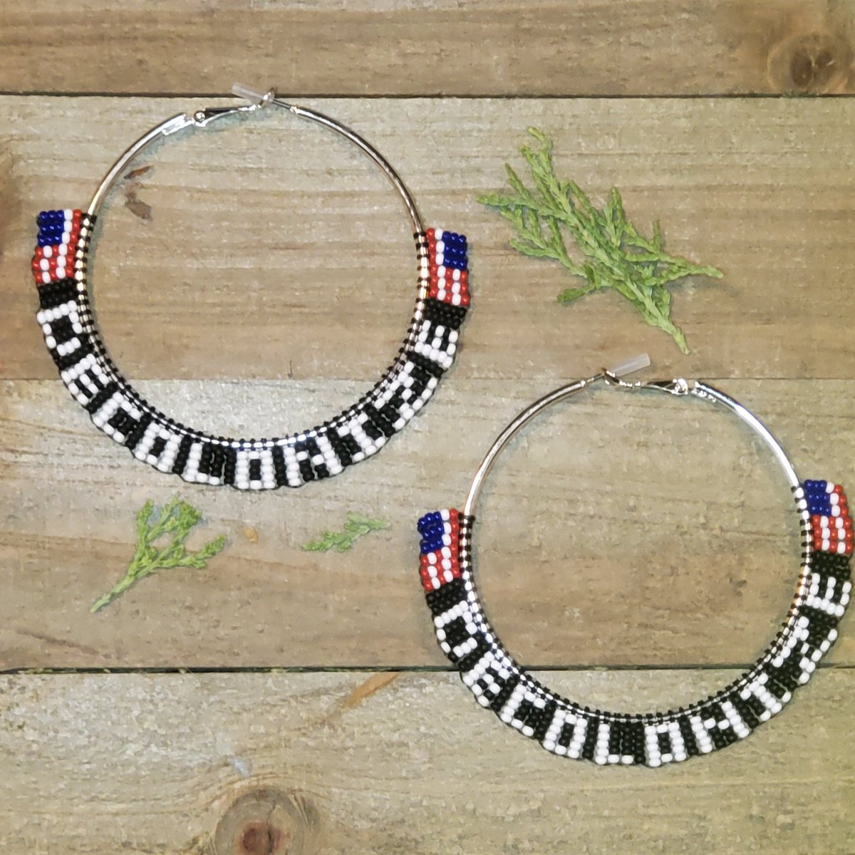 DECOLONIZE with upside down flags... beaded hoop earrings, FREE US shipping in my Etsy shop  #NativeTwitter #beadwork #AlaskaNative #FirstNations #NativeMade #Unangax #BuyNative #Statimc #Aleut #decolonize #BeadedEarrings