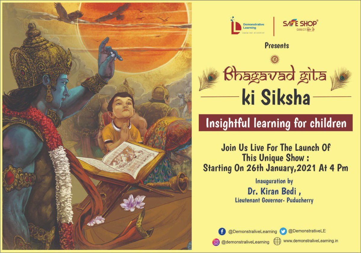 Today at 4 PM.  Bhagwat Gita for Children.  Initiated by @SainaBharucha @DemonstrativeLE @IVFoundation and @NavjyotiIF   supported by Safe SHOP