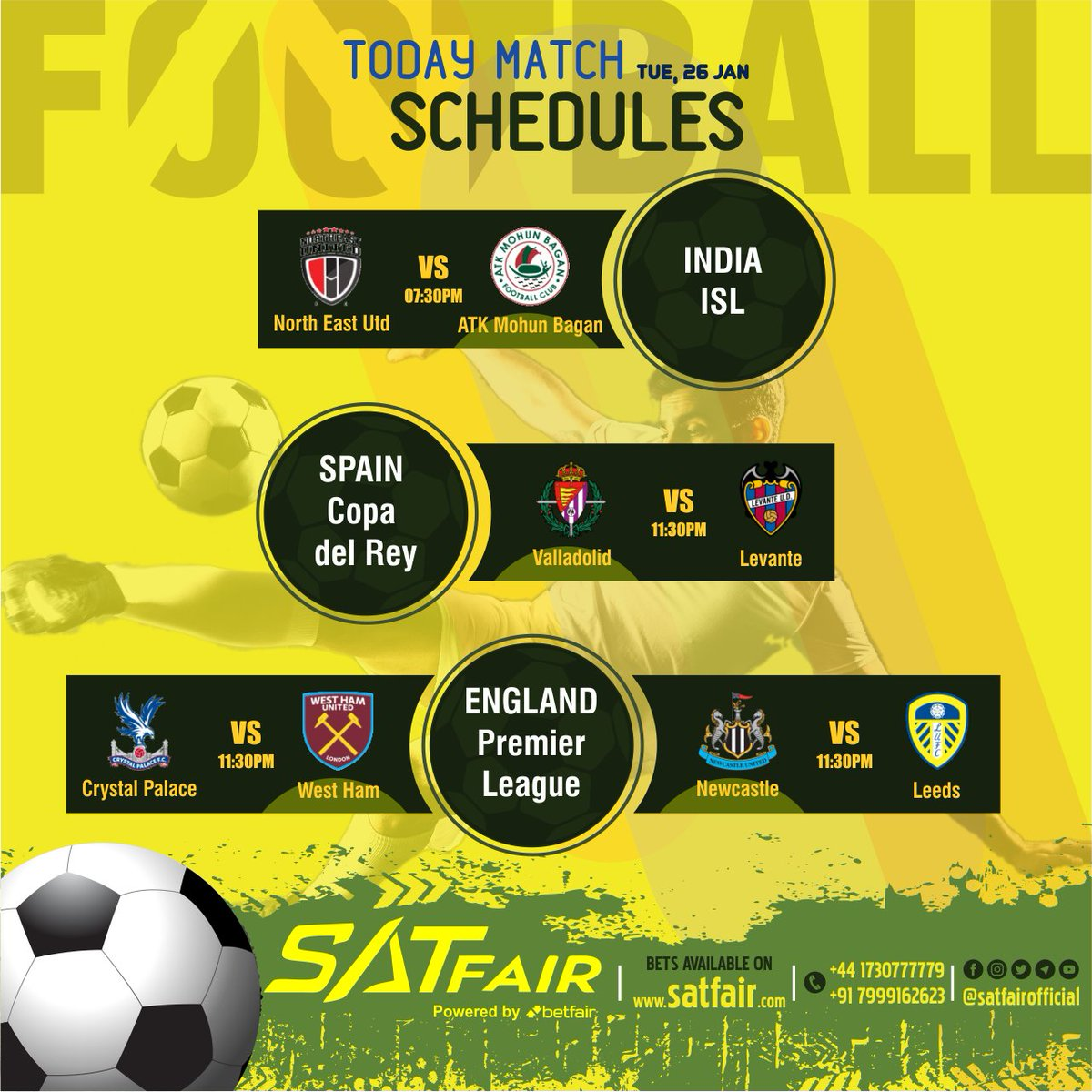 """Satfair gives everyone an """"important update"""" Satfair provides you all the matches to be played today Join now AND Start Playing Sign Up Free Minimum Deposit 5000 Minimum Withdrawal 5000 Withdrawal Timings 60-90 Min Max  Contact Now +44-1730777779  +91-7999162623 #soccer #satfair"""