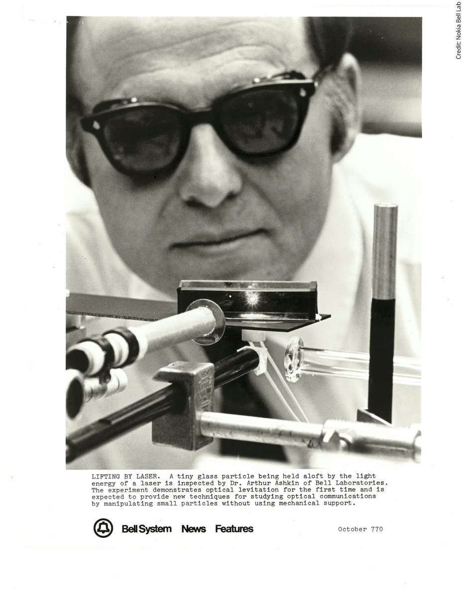 #OTD in 1970 Arthur Ashkin published 'Acceleration and Trapping of Particles by Radiation Pressure' and demonstrated that lasers could be used to trap, hold and move tiny particles in space.  He was awarded the #NobelPrize in Physics in 2018.