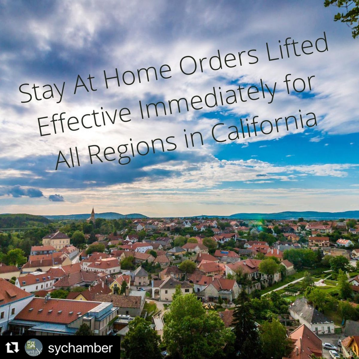 California Stay at Home Orders lifted! 🙌🏼 ・・・ Yes the California Department of Public Health officials lifted the Stay at Home Order for all regions in California today. This would also sunset the 10 pm - 5 am curfew that has been in place.   #Repost @SYnezChamber
