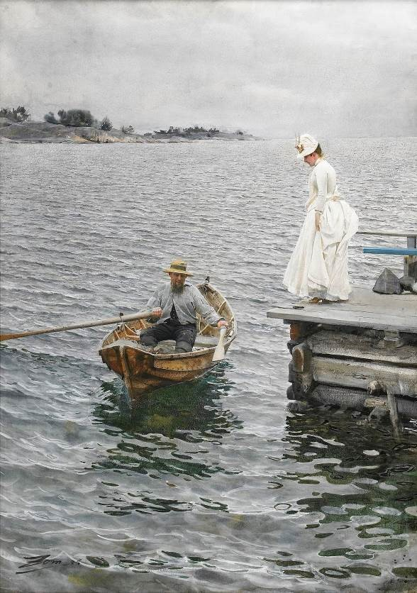 Impressive treatment of rippling water in Anders Zorn's watercolour 'Summer Pleasure' (1886), with wife Emma posing on the pier ~ it set record for Sweden's priciest painting in 2010 ($3.5m) ■ at R, his earlier sketch
