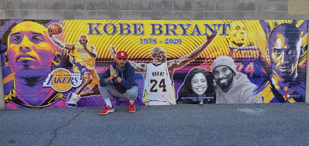 One year ago the world changed... Kobe passing triggered a string of events that reshaped history. 🙏  Pic from Feb 2020 at the Vegas Mural #RIP824 #MAMBAFOREVER #LAKERSvsEVERYONE #KB824  #FOREVERKOBE #FOREVERGIGI 🐍⚫🐍⚫🐍⚫🟣🟡🟣🟡🟣