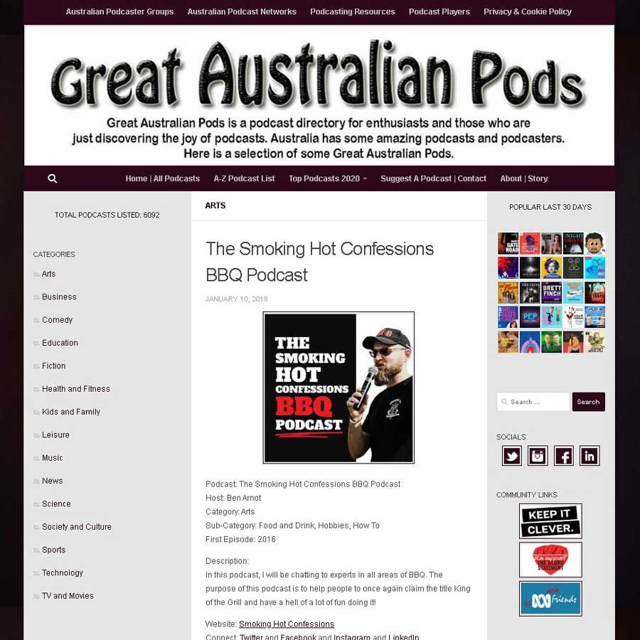 Great Australian Pods: The Smoking Hot Confessions BBQ Podcast     #GreatAustralianPods  #Podcast  #Australia  #AusPodSquad  #Arts  #Food  #Hobbies  #HowTo    @bbqconfessions