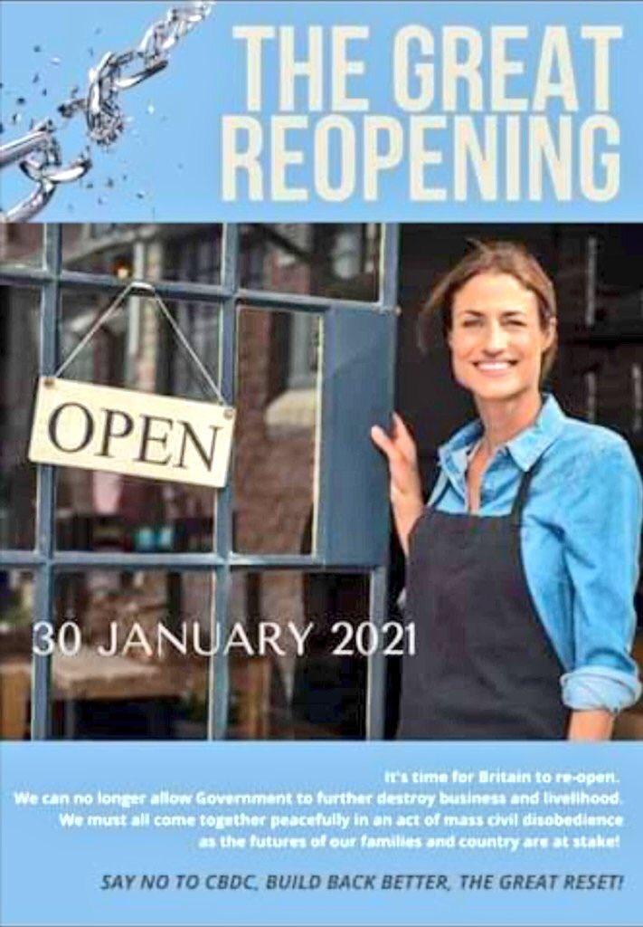 The Great Reopening UK (January 30) - An astonishing movement of resistance and #DISOBEDIENCE started. #coronavirus #Antilockdown #lockdown2021 #beirut #lebanon