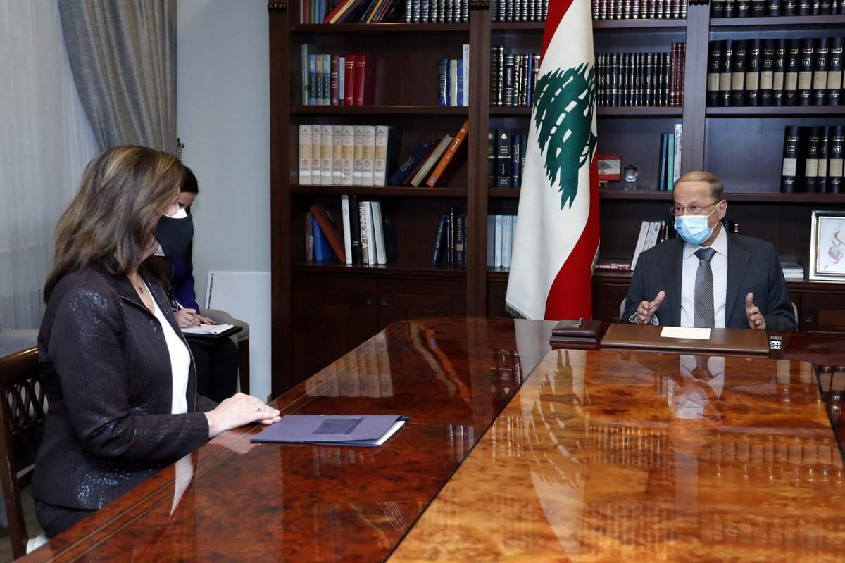 الرئيس عون استقبل سفيرة الولايات المتحدة الأميركية في بيروت السيدة دوروثي شيا، وبحث معها في التطورات الاخيرة، ومستقبل العلاقات اللبنانية - الاميركية بعد تسلم الرئيس جو بايدن مهماته الرئاسية