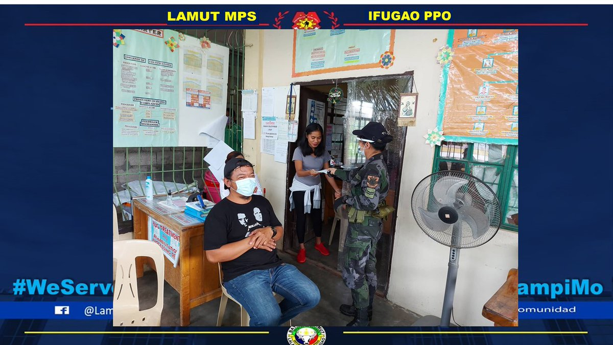 Personnel of Lamut MPS distributed free facemask to the residents of Brgy Mabatobato, Lamut, Ifugao  #PNPKakampiMo #TeamPNP #ToServeandProtect #PNPGoodDeeds