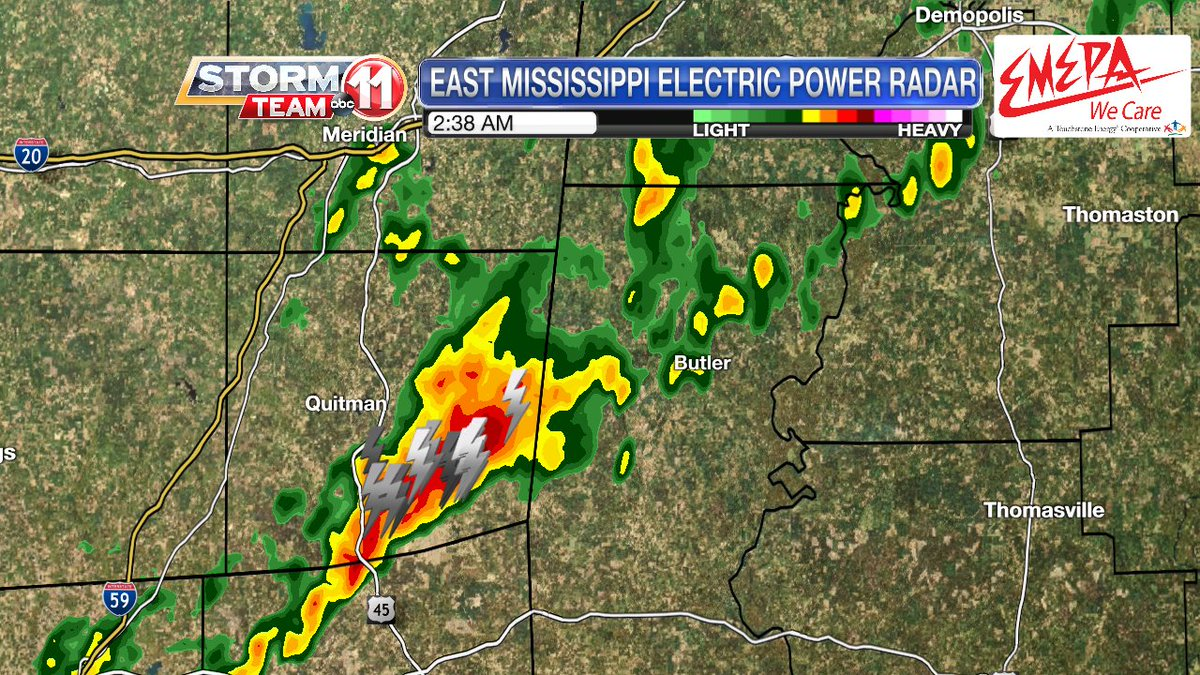 2:39 AM: Nothing is severe. There's a heavy storm with a high concentration of lightning that makes it a bit loud. It will track through southeastern Clarke County, Miss. through about 3:00 AM and through Choctaw County, Ala. through about 3:30 AM. #mswx #alwx