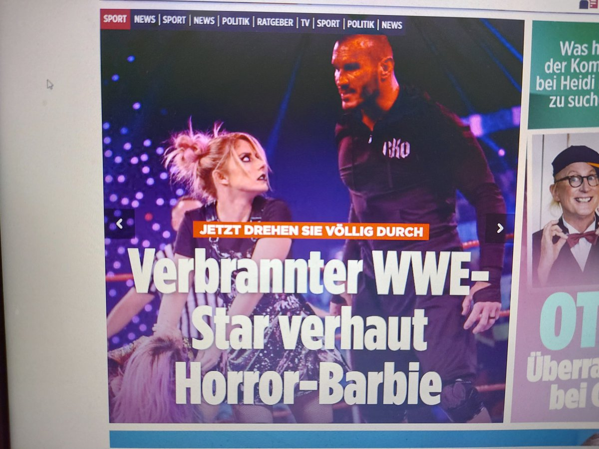 "First report on the #website of an #German newspaper. ""Now they're  going crazy: Burned #WWE Star beats horror barbie"". well, I love #Wrestling, but i am very sure there are more important news today. #BILD #RandyOrton #AlexaBliss #WWERaw #RoyalRumble2021"