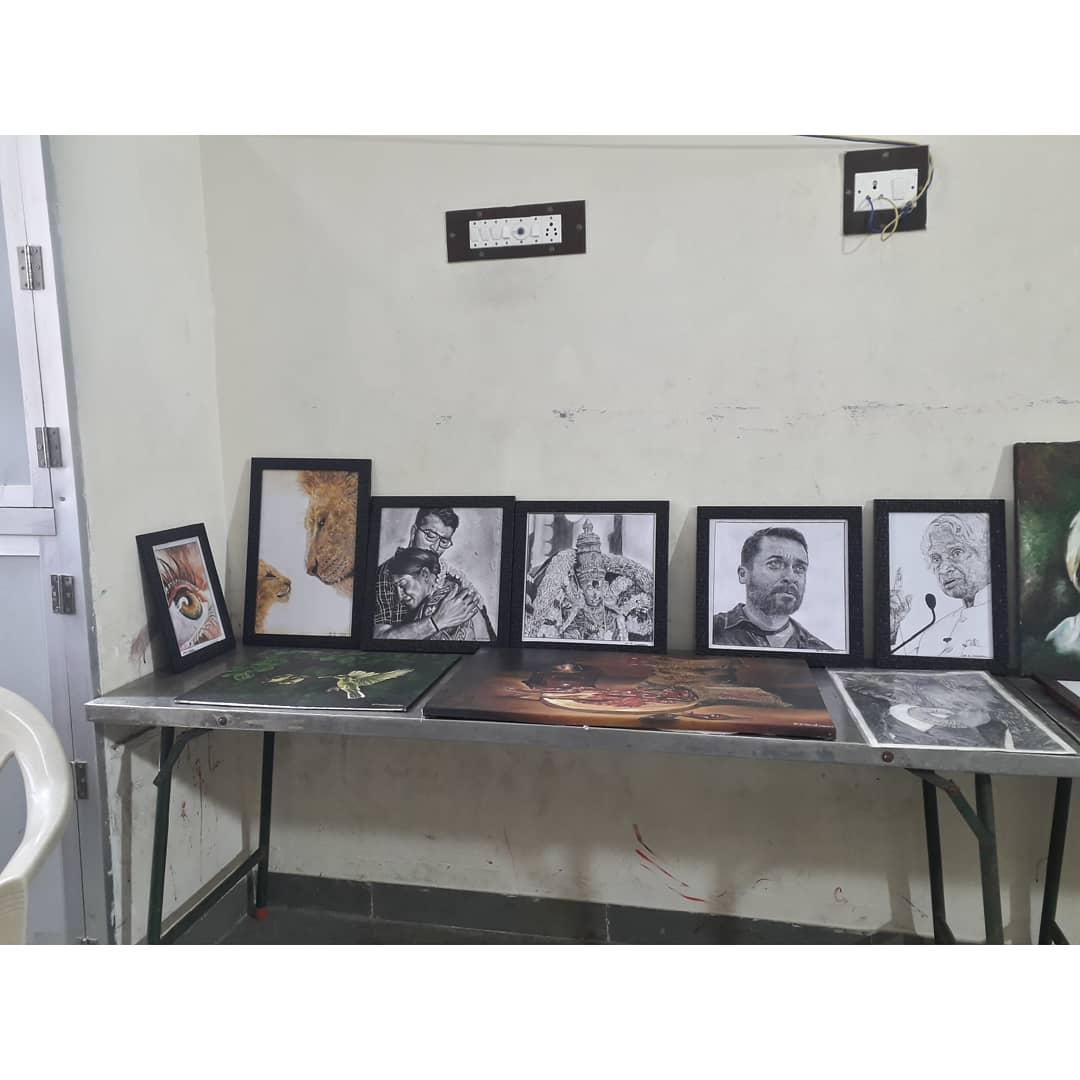 Today Art Exhibition  My Arts are Placed in Tamilnadu Arasu kalai panpattu maiyam  Madurai 🙏 Actor @Suriya_offl Sir  Actor @KalaiActor Sir  Actress @NayantharaU Mam   #art #artistsontwitter #Suriya #kalaiyarasan #nayanthara #TheLionKing #abdulkalam #eye #meenakshiamman