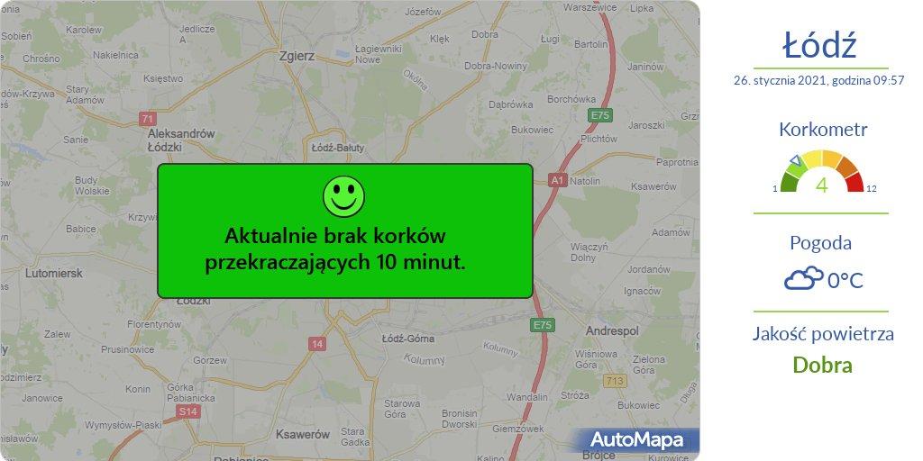 #ŁÓDŹ Aktualna #MAPA korków przekraczających 10 min.  ⚠️ #Korkometr: 4/12 🕙 Godzina: 10:00  #Traffic #AutoMapaAlert #Korek #Utrudnienia #KorkometrŁÓDŹ