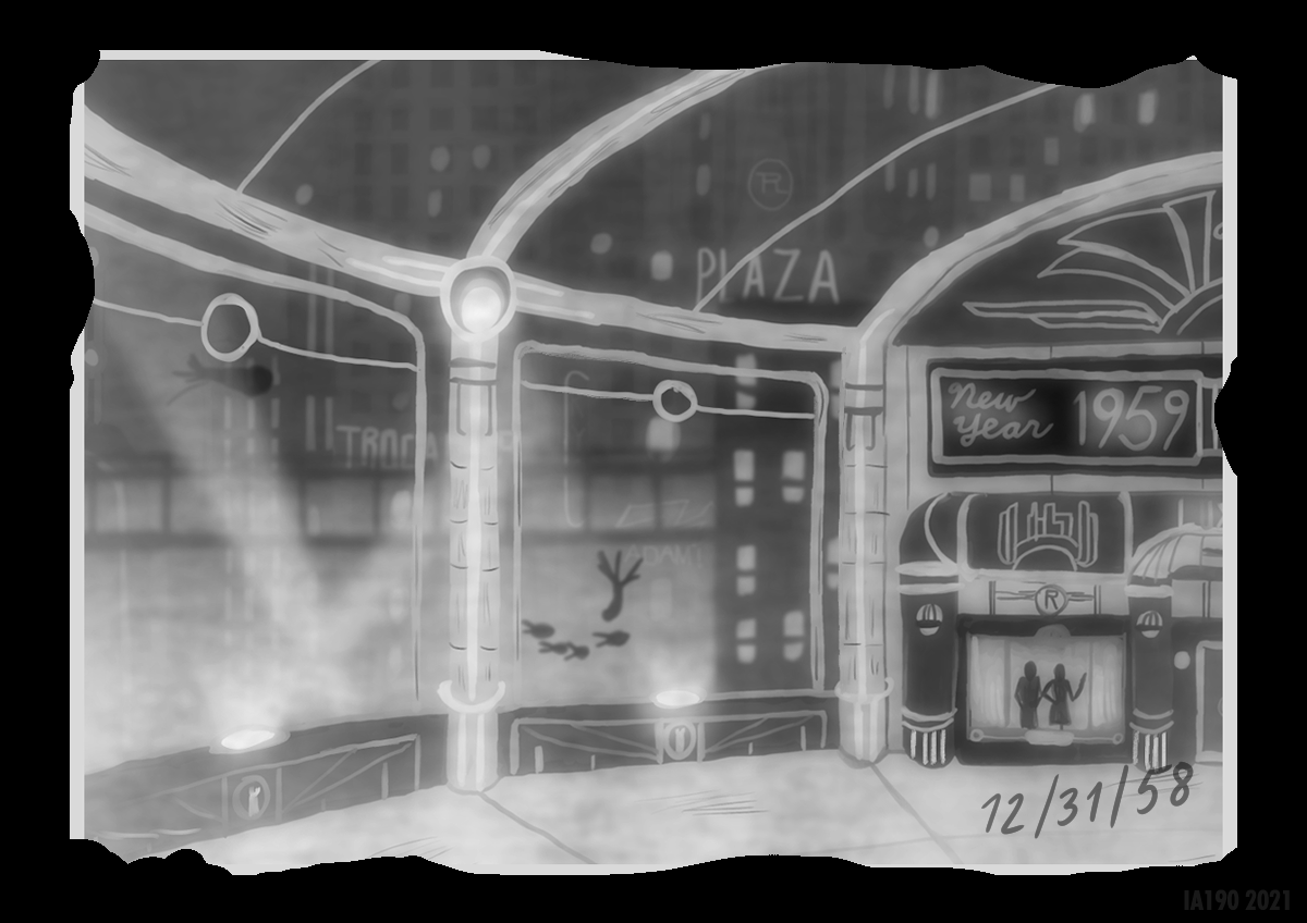 Empty Streets on New Year's Eve.  Everyone's probably at the Kashmir.  #rapture #bioshock #fanart #newyearseve