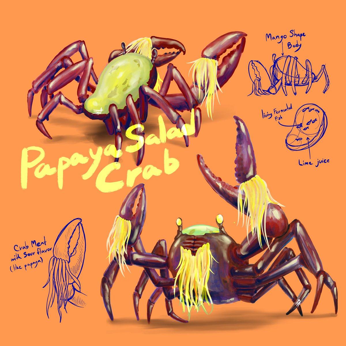 Papaya Salad Crab  #waadraid #papayasalad #crab #somtum #fermentedfish #papaya #salad #food #thaidish #thai #illustration #illustrator #characterdesign #monster #creature #creaturedesign #animal #Cuisine