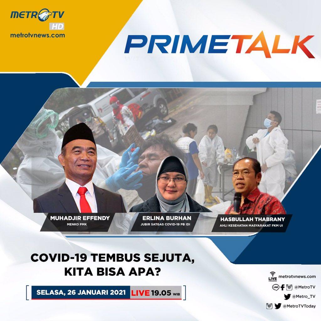 Benarkah ada yang salah dalam penanganan COVID-19? Upaya apalagi yang bisa dilakukan pemerintah agar pandemi COVID-19 di Indonesia terkendali? Selengkapnya di #PrimeTalkMetroTV hari Selasa (26/1) LIVE pukulu 19.05 WIB.
