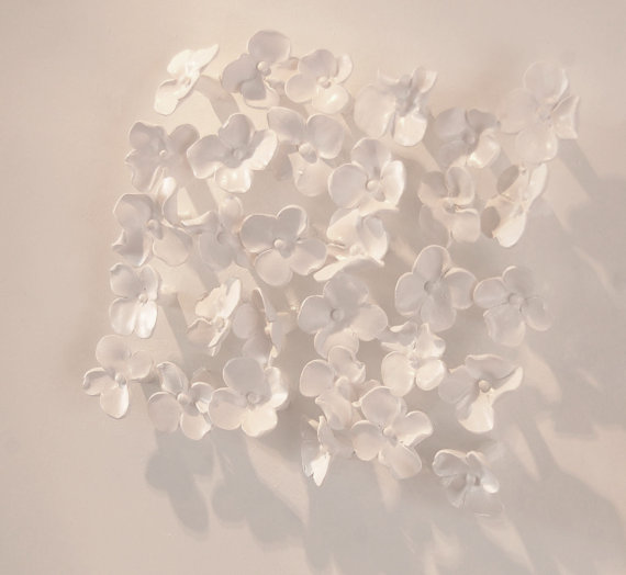 Hydrangea Wall Art 3D Sculpted Clay  3d #clayart sculpture #flowers #white Click to see entire piece