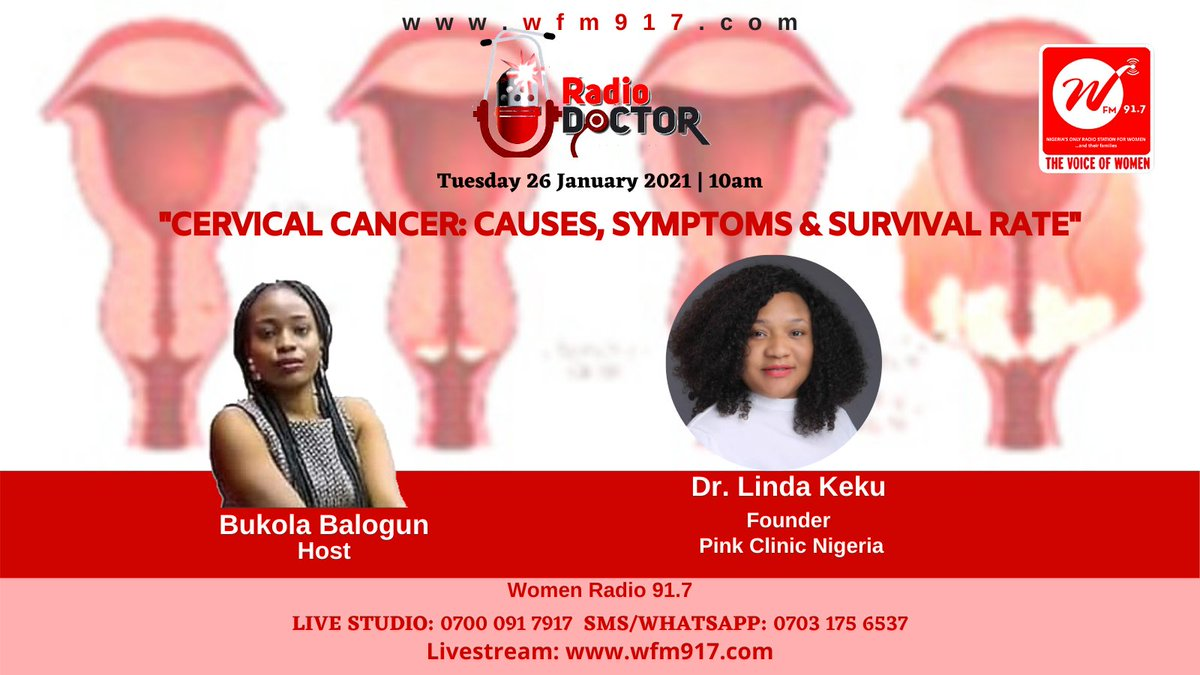 """#RadioDoctor on Women Radio 91.7 by 10am . Join our conversation on """"Cervical Cancer: Causes, Symptoms and Survival Rate""""  with @bukky__b  Livestream:  Call in Live: 0700 091 7917  #radiodoctor #cancer #cervix #cervicalcancer #symptoms #causes #survivalrate"""