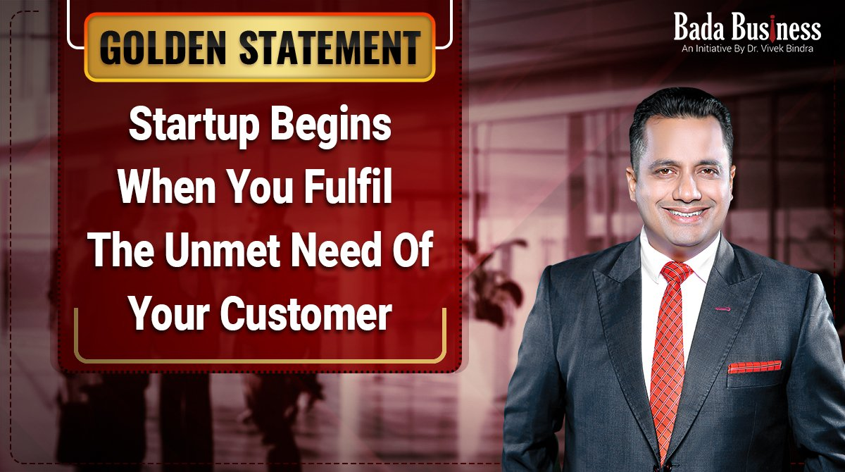 See your business growing by solving customer`s urgent problems this way. Click   #BadaBusiness #DrVivekBindra #GoldenStatement #tuesdaymotivations #tuesdayvibe