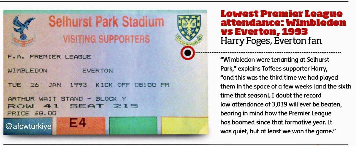 🦁Premier League tarihinin en düşük seyirci rekoru, 26 Ocak 1993'de soğuk bir Londra gecesinde Wimbledon-Everton maçında 3039 seyirci ile kırıldı.  🏟Maçın o dönem kendi sahamız olmadığı için Crystal Palace sahasında oynandığını belirteyim  #WimbledonFC #EvertonFC #OnThisDay #OTD