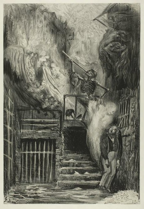 """A reinvention of apotheosis. Gustave Doré: """"La Rue de la Vieille-Lanterne.""""  Gérard de Nerval, one of the most important authors of French romanticism, who anticipated the Symbolist movement, committed suicide #OnThisDay 1855, after years of mental derangement and poverty."""