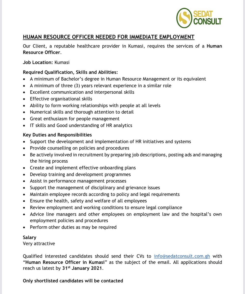 #vacancy for #HR #officer   Kindly find attached for more information   #vacancies #jobs #ghana https://t.co/hDhz1RxdNb