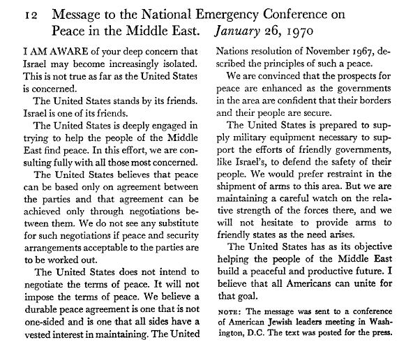 """#OnThisDay in 1970: Message from President Nixon to a meeting of American Jewish Leaders: """"National Emergency Conference on Peace in the Middle East"""" @nixonfoundation @NixonLibrary #USIsrael #RichardNixon"""