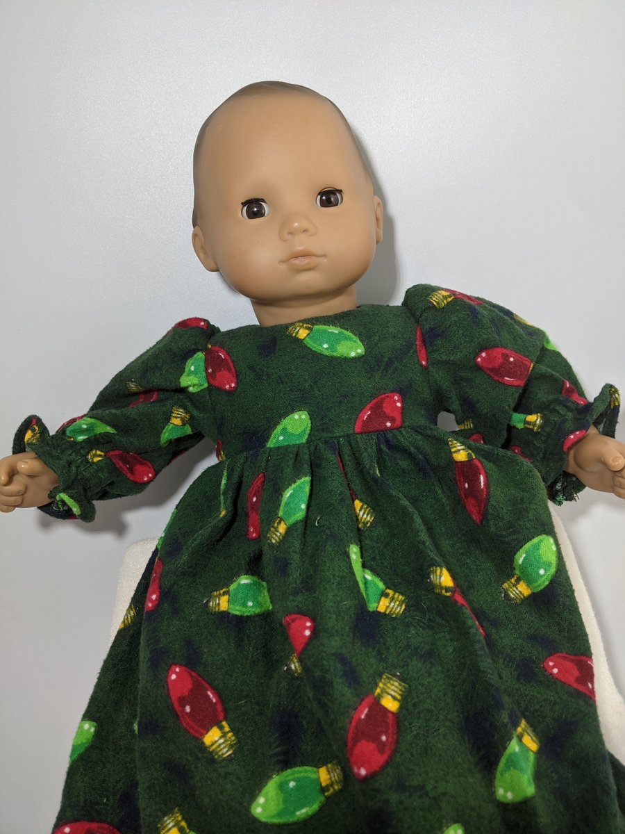 Excited to share the latest addition to my #etsy shop: Christmas Lights Dress Fits 14-16 Inch Baby Dolls Including Bitty Baby and Bitty Twins  #green #christmas #red #winter #dress #xmas #lights #holiday #coloredlights