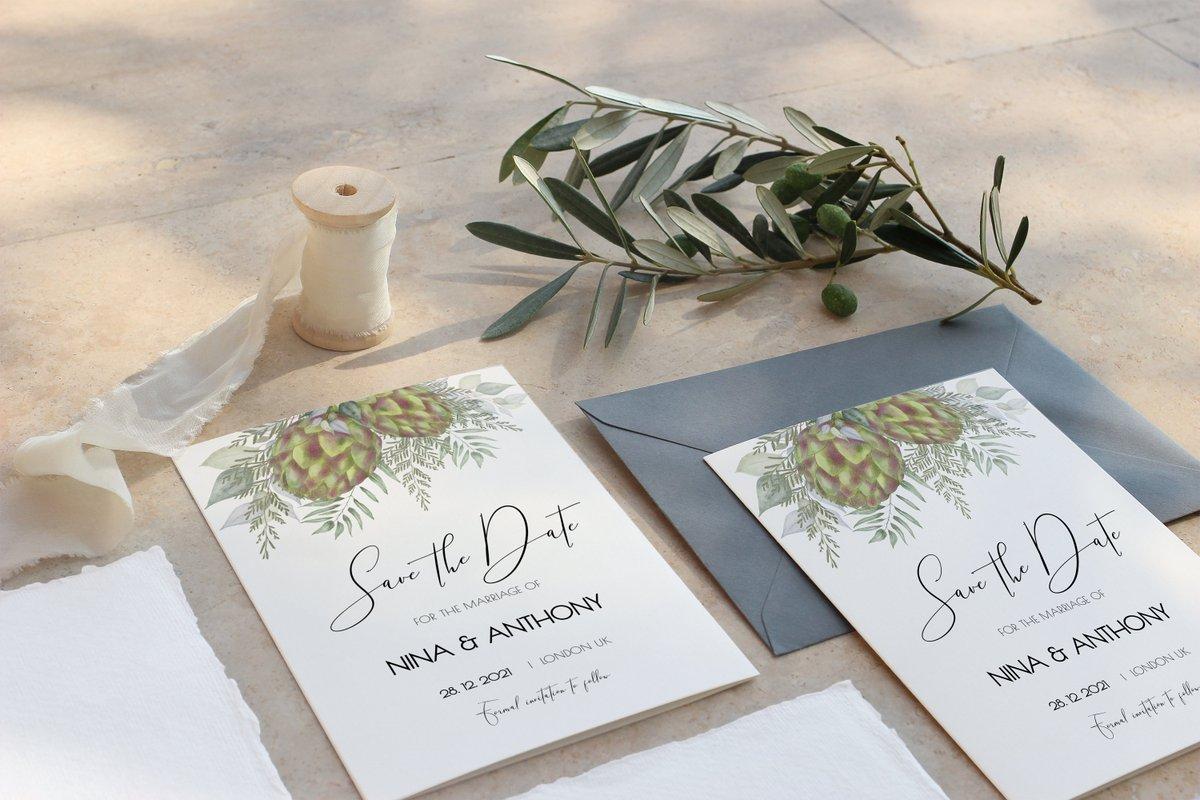 Greenery Save the Date - Artichoke flowers, Cedar and Foliage - Chic Boho design -   #foliage #savethedate #pdf #templett #artichoke #greenery #twigs #flowers #etsy #engaged #bride #bridetobe #stationery #valentines #love #flowers #wedding