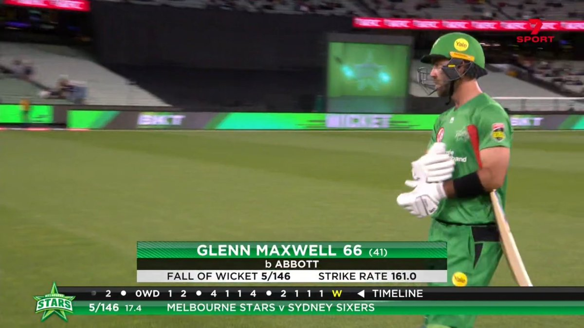 MASSIVE wicket for @SixersBBL. Maxwell chops on and his innings ends on 66 #BBL10