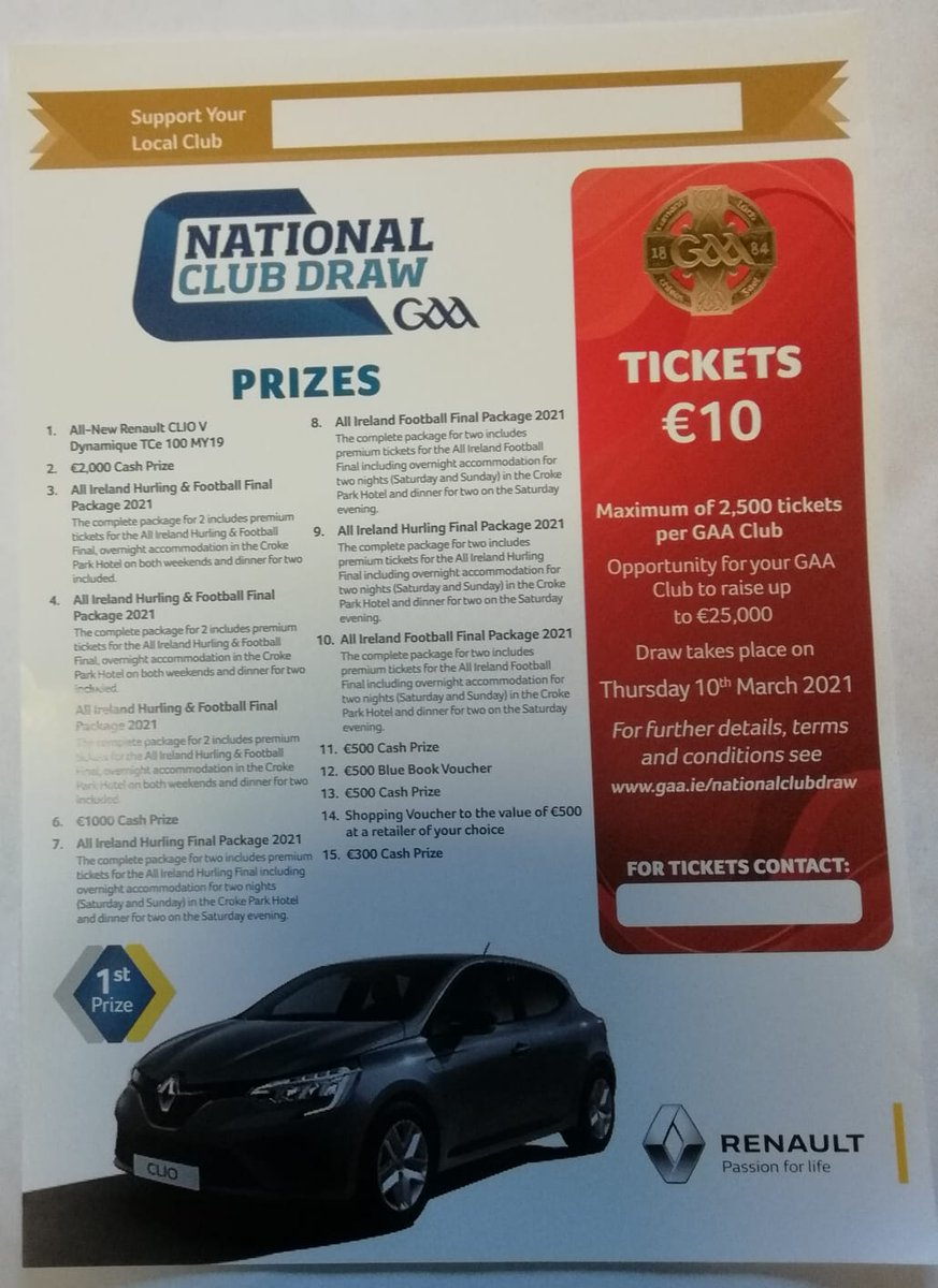 NCD tickets are on sale at the moment. This is one of our clubs major fundraisers for the year.For just €10 you could be driving away in a new Renault Dynamic🚘.If you havent got a ticket yet please contact James 0872207210 or Teresa 0863596604.