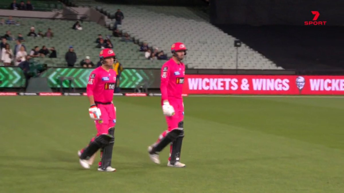 Here we go! Philippe and Vince opening for @SixersBBL, looking to chase 72 inside the first 10 overs for the Bash Boost point #BBL10