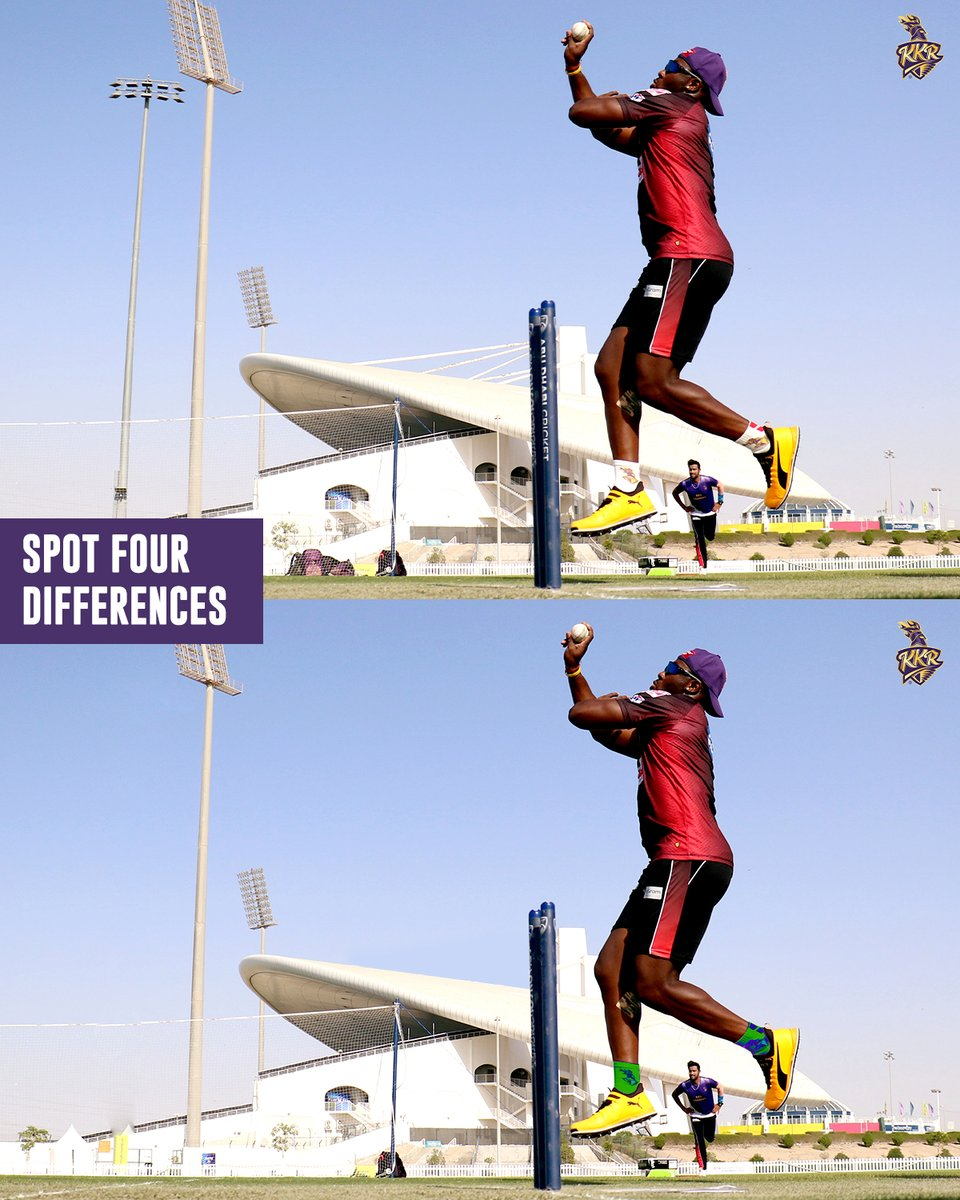 Looks like @Russell12A is mixing it up with some cross-seam, doesn't it? 🤔  But that's not what we want to know! Here's another test to see which of you #ToofaniFans can #SpotTheDifferences 👀  #KKR #Cricket