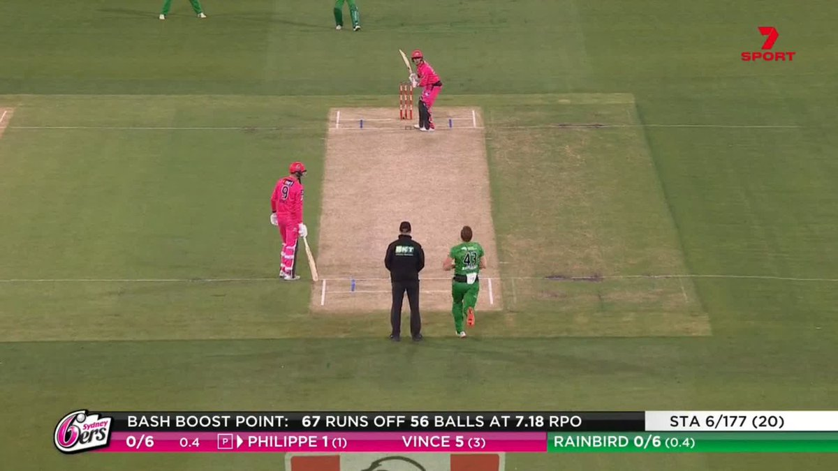 Philippe OUT 😮  Rainbird the inclusion gets the huge wicket #BBL10